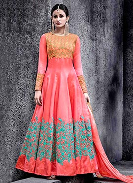 Coral Pink Art Silk Abaya Style Anarkali suit