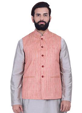 Coral Pink Art Silk Nehru Jacket
