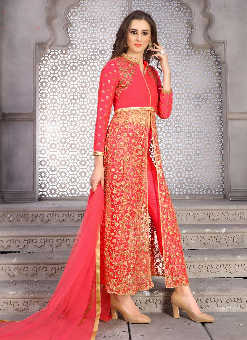 Buy Coral Pink Art Silk Net Straight Pant Suit