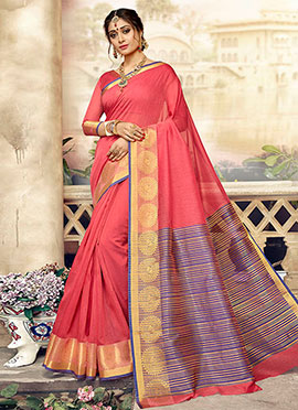 Coral Pink Art Silk Saree