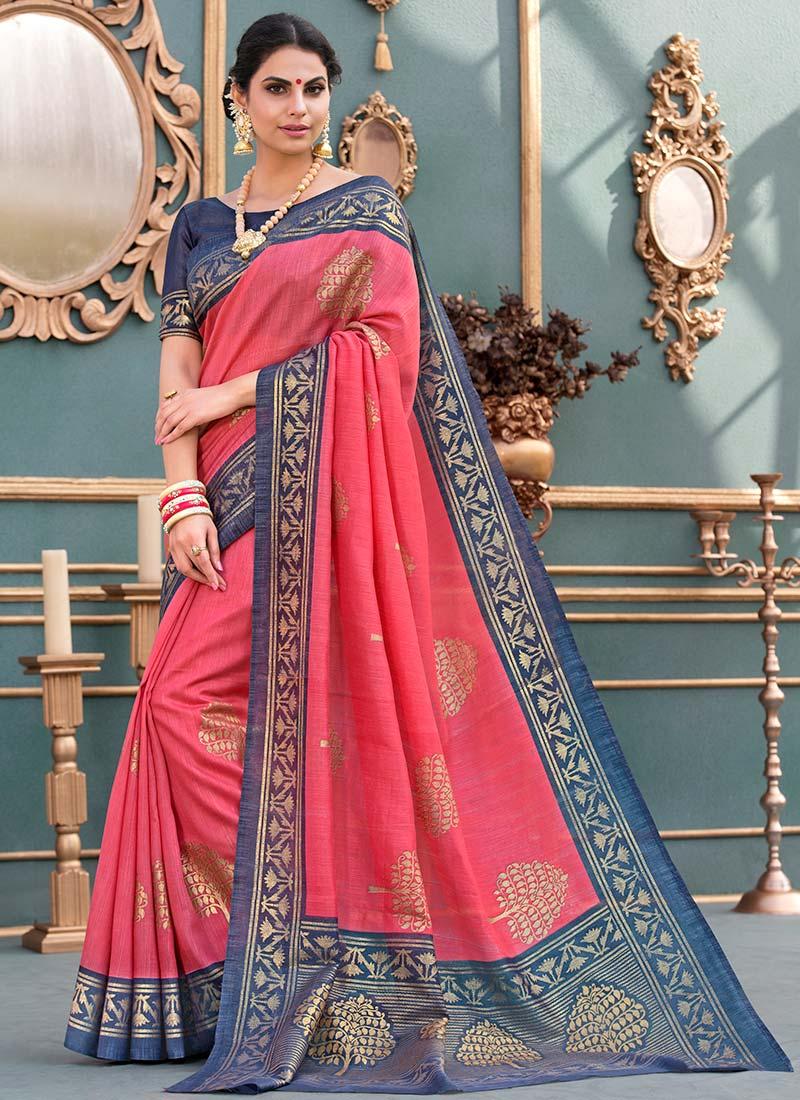 62dff179205a69 Buy Coral Pink Art Tussar Silk Saree