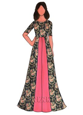 Coral Pink Chanderi Cotton Floral Printed Gown