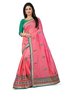 Coral Pink Chanderi Silk Embroidered Saree