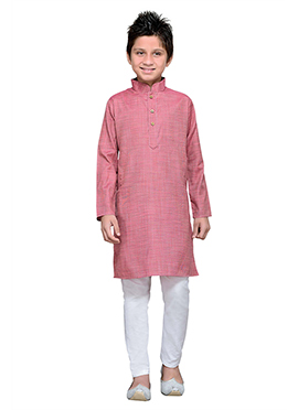 Coral Pink Cotton Boys Kurta Pyjama