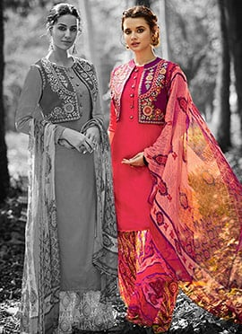 Coral Pink Cotton Patiala Suit