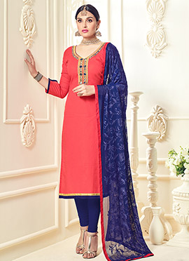 Coral Pink Cotton Silk Straight Suit