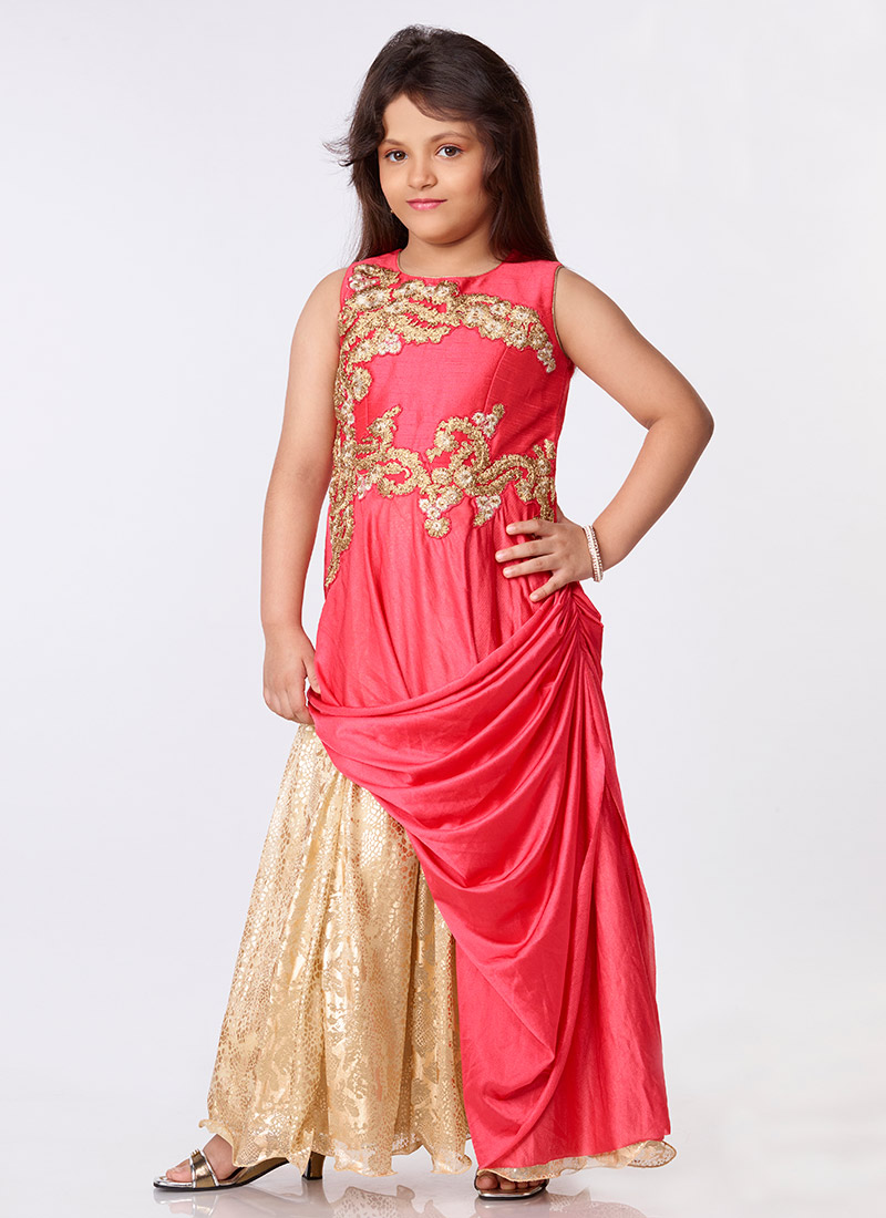 Buy Coral Pink Draped Gown, Embroidered, girls gown Online ...