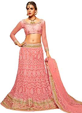 Coral Pink Embroidered A Line Lehenga Choli