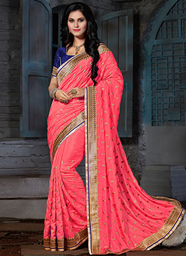 Coral Pink Embroidered Saree