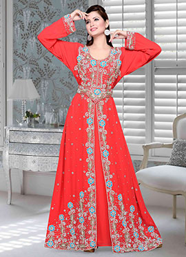 Coral Red Georgette Fustan