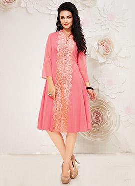 Coral Pink Georgette Kurti