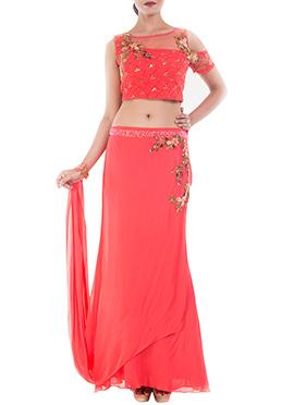 Coral Pink Georgette N Net Croptop N Skirt Set