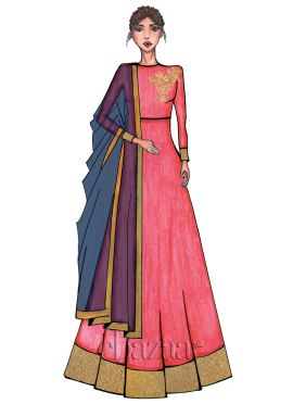 Coral Pink High Neck Embroidered Anarkali Suit