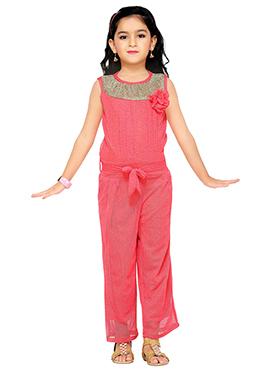 Coral Pink Lycra Kids Jumpsuit