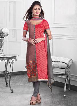 Coral Pink N Mauve Chanderi Cotton Straight Suit