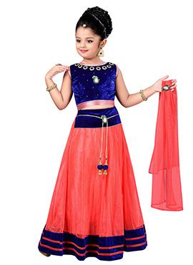 Coral Pink N Royal Blue Kids A Line Lehenga Choli