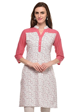 Coral Pink N White Cotton Kurti