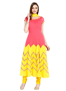 Coral Pink N Yellow Anarkali Suit