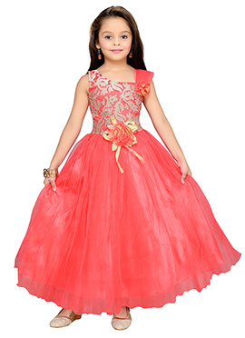 Coral Pink Net Kids Anarkali Gown