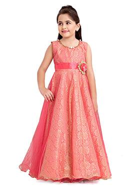 Coral Pink Net Kids Anarkali Gown