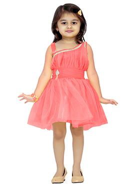 Coral Pink Net Kids Dress