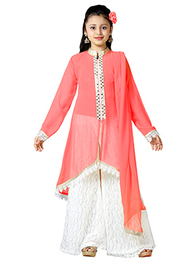 Coral Pink Net Teens Palazzo Suit