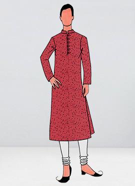 Coral Pink Printed Cotton Linen Kurta Pyjama