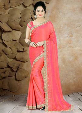Coral Pink Pure Handloom Silk Saree