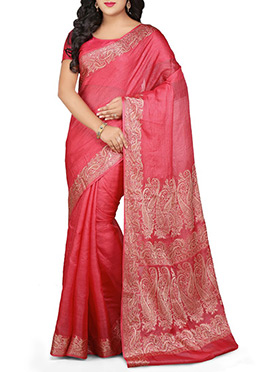 Coral Pink Pure Silk Saree