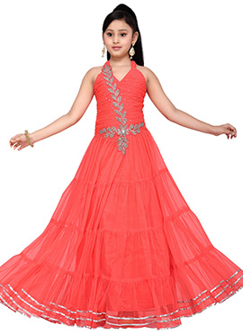 Coral Pink Satin N Net Kids Anarkali Gown