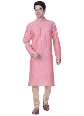 Coral Pink Silk Cotton Jacquard Kurta Pyjama