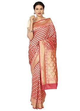 Coral Red Art Benarasi Kora Silk Saree