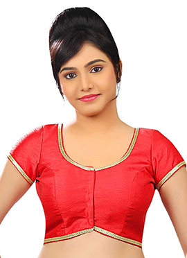 Coral Red Art Dupion Silk Blouse
