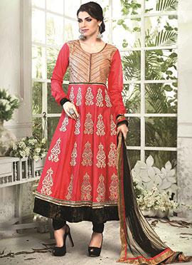 Coral Red Art Silk Cotton Anarkali Suit