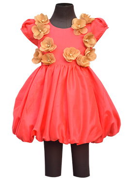 Fayon Coral Red Art Silk Kids Dress