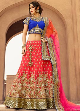 Coral Red Art Silk Lehenga Choli