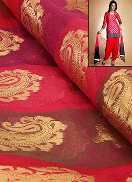 Coral Red Artsilk Brocade Patiala Suit