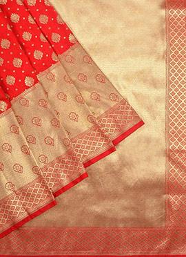 Coral Red Benarasi Pure Handloom Silk Saree