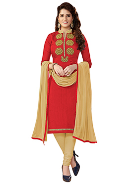 Coral Red Chanderi Cotton Churidar Suit
