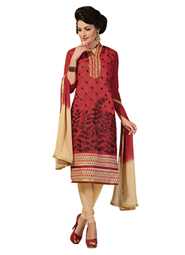 Coral Red Chanderi Silk Cotton Embroidered Churidar Suit