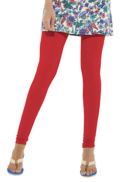 Go Colors Coral Red Cotton Churidar Bottom