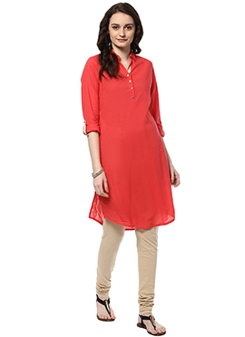 Coral Red Cotton Kurti