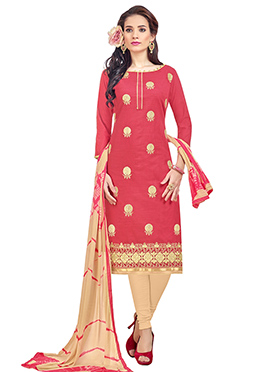 Coral Red Linen Churidar Suit
