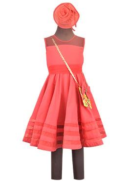 Fayon Coral Red Linen Kids Dress
