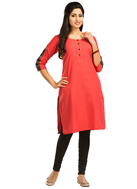 Coral Red Maybell Cotton Kurti