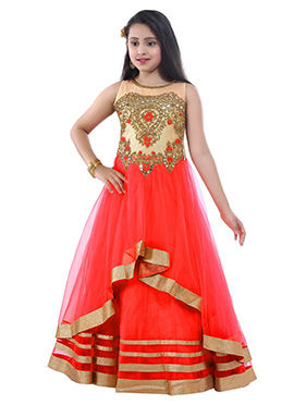 Coral Red Net Kids Layered Gown