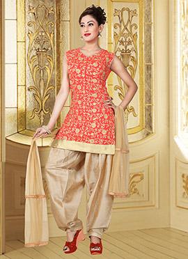 Coral Red Taffeta Silk Salwar Suit
