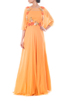 Coral Yellow Jacket Style Anarkali Gown