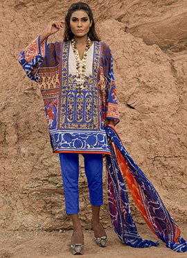 Cotton Multicolored Printed Straight Pant Suit