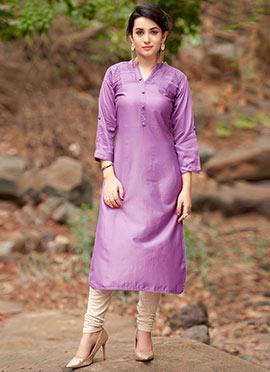 Cotton Satin Purple Kurti
